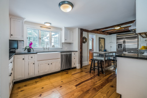 Rustic kitchen in historic Fairfield Beach area home at 349 Beach Road. Listed & Sold (in ONE DAY!) by Denise Walsh & Partners for $1,495,000 in 2016